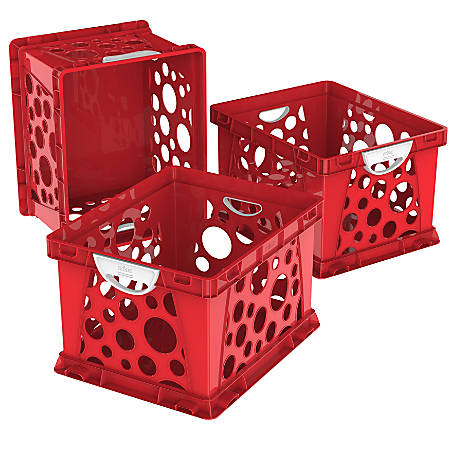 "Storex Large File Crates, With Handles, 10-1/2""H x 14-1/4""W x 17-1/4""D, Classroom Red, Pack Of 3 Crates"