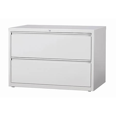 "WorkPro® 42""W 2-Drawer Letter-/Legal-Size Metal Lateral File Cabinet, Light Gray"