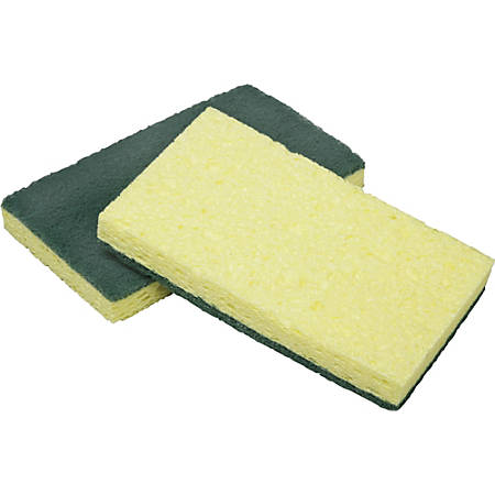 "SKILCRAFT® Cellulose Scrubber Sponges, 4-1/2"" x 2-3/4"", Yellow, Pack Of 3 Sponges"