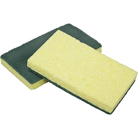 """SKILCRAFT Combo Scrubber Sponge - 2.8"""" Width x 4.5"""" Depth750 mil Thickness - 3/Pack - Cellulose - Yellow"""