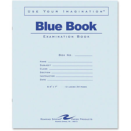 """Roaring Spring Wide-ruled Blue Examination Book - 12 Sheets - 24 Pages - Stapled - Wide Ruled Red Margin - 15 lb Basis Weight - 7"""" x 8 1/2"""" - White Paper - Blue Cover - 1Each"""