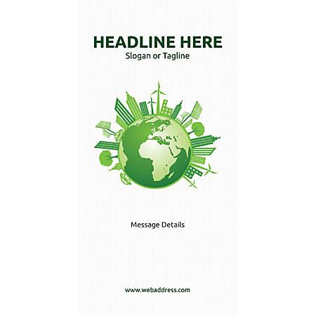 Custom Vertical Banner, Green World