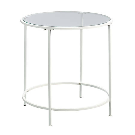 Sauder® Anda Norr Glass Side Table, Round, White