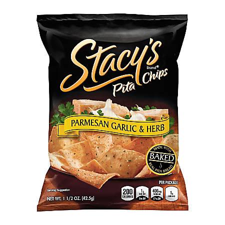 Stacy's Parmesan Garlic & Herb Pita Chips, 1.5 Oz, Pack Of 24