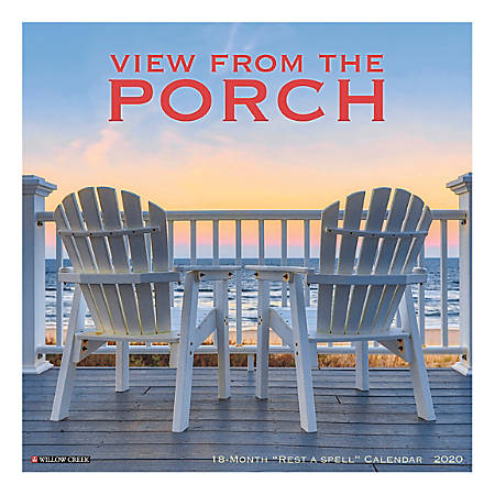 """Willow Creek Press Scenic Monthly Wall Calendar, 12"""" x 12"""", Porch View, January To December 2020"""