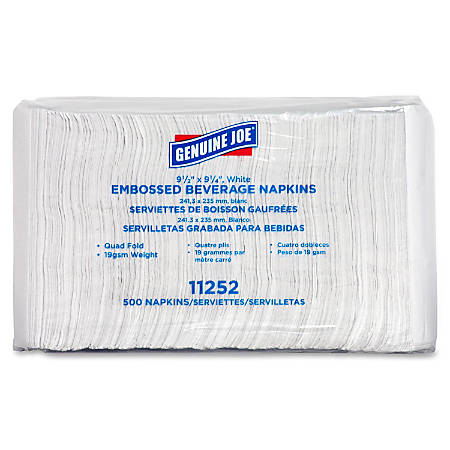 "Genuine Joe Quad-fold Square Beverage Napkins - 2 Ply - 9.50"" x 9.50"" - White - Absorbent, Embossed, Quad-fold - For Beverage - 500 Sheets Per Pack - 4000 / Carton"