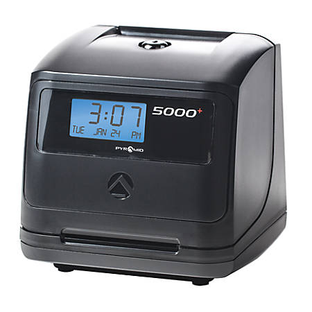 """Pyramid™ 5000 Automatic Time-Totaling Time Clock, 7.25"""" x 7"""" x 6.5"""", Black"""