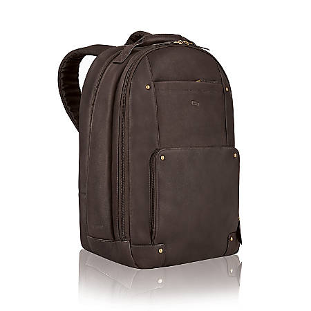 Solo Vintage Classic Leather Laptop Backpack, Espresso