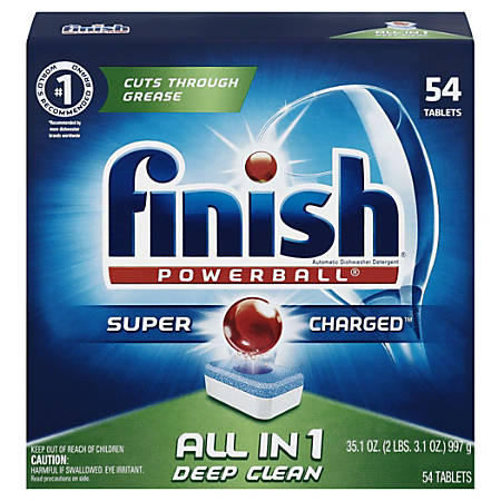 Finish Power Dishwasher Tabs, Fresh Scent, 43.2 Oz, Pack Of 54