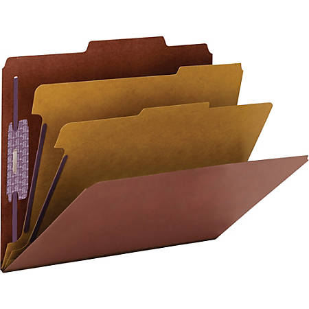 """Smead® PressGuard® Classification Folders with SafeSHIELD®, 11-3/4"""" x 10"""", 2"""" Expansion, Red, Box Of 10"""