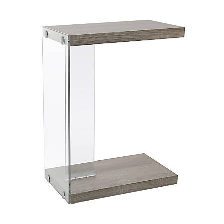 Monarch Specialties Accent Table With Glass Base, Rectangle, Dark Taupe