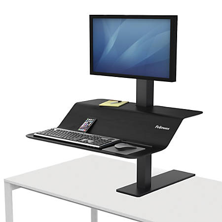 Fellowes® Lotus™ VE Steel Sit-Stand Workstation, Single, Black