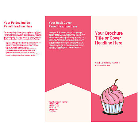Customizable Trifold Brochure, Cherry Cupcake