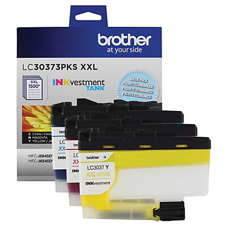 Brother INKvestment LC30373PKS Super High-Yield Cyan/Magenta/Yellow Ink Cartridges, Pack Of 3 Cartridges