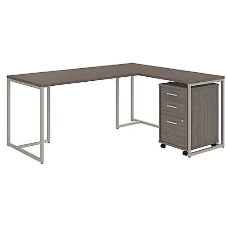 """kathy ireland® Office by Bush Business Furniture Method 72""""W L Shaped Desk with 30""""W Return and Mobile File Cabinet, Cocoa, Premium Installation"""