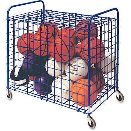 "Champion Sports Lockable Ball Storage Locker - Steel - 36"" Length x 24"" Width x 36"" Height - Blue - 1 Each"