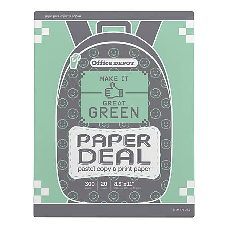 Office Depot® Brand School Copy Paper, Letter Size Paper, 20-Lb, Green, Pack Of 300 Sheets