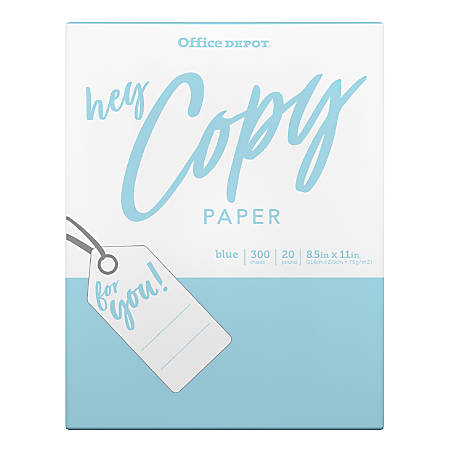 Office Depot® Brand School Copy Paper, Letter Size Paper, 20-Lb, Blue, Pack Of 300 Sheets