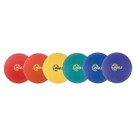 Champion Sport s Playground Ball Set - Assorted, Red, Yellow, Green, Orange, Purple - Nylon, Plywood
