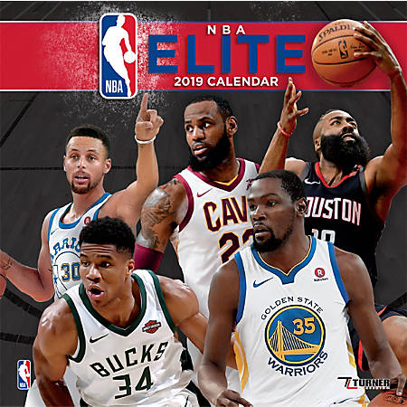 """Turner Sports Monthly Wall Calendar, 12"""" x 12"""", NBA Elite, January to December 2019"""