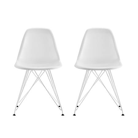 DHP Mid-Century Modern Molded Chairs, White/White, Set Of 2