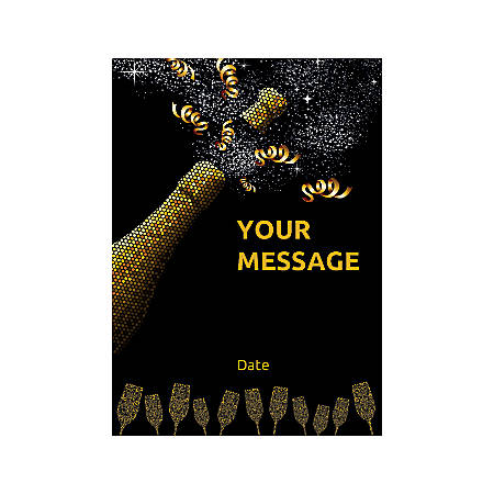 Flat Photo Greeting Card, Champagne Bottle Popping, Vertical