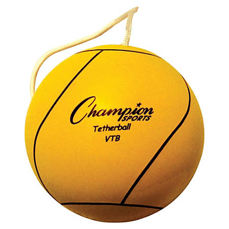 Champion Sports Heavy-duty White Tether Ball - Yellow - Rubber, Nylon