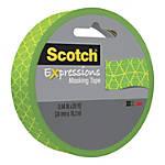 "Scotch® Expressions Masking Tape, 3"" Core, 0.94"" x 20 Yd., Jungle Green"