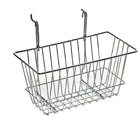"Azar Displays Chrome Wire Baskets, 6 1/4""H x 12""W x 6""D, Silver, Pack Of 2"