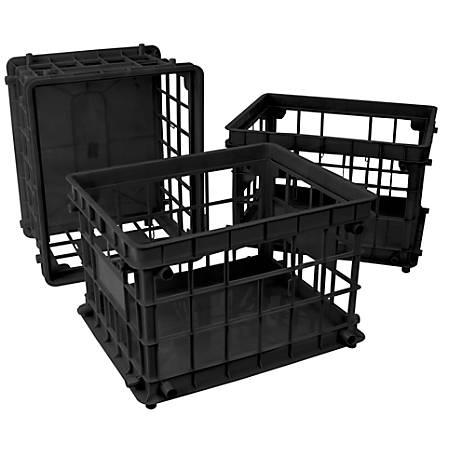 "Storex Standard File Crates, 17-1/4"" x 14-1/4"" x 11-1/4"", Black, Pack Of 3 Crates"