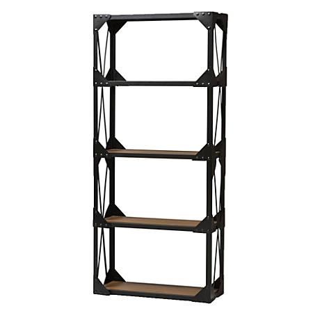 Baxton Studio Ludwig Shelving Unit, 4 Shelves, Brown/Black
