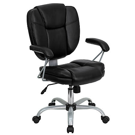 Flash Furniture Leather Mid-Back Swivel Chair, Black/Silver