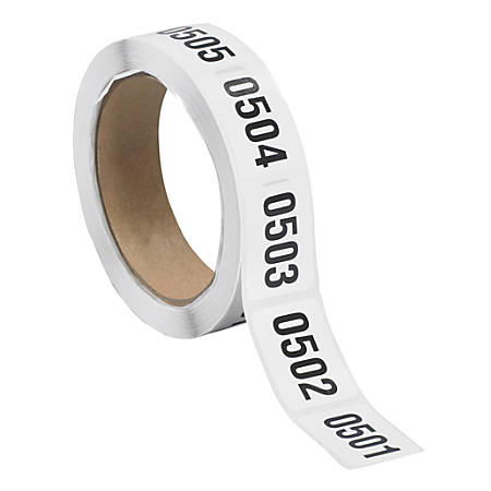 """Tape Logic® Consecutive Numbered Labels, DL1242, 0501 - 1000, Rectangle, 1"""" x 1 1/2"""", Black/White, Roll Of 500"""