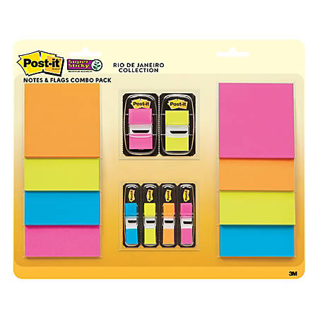 "Post-it® World Of Color Collection Rio de Janeiro Super Sticky Notes And Flags, 3"" x 3"", Assorted Colors, Pack Of 8 Pads And 6 Flags"