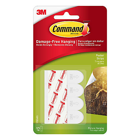 3M™ Command™ Poster Strips, Pack Of 12