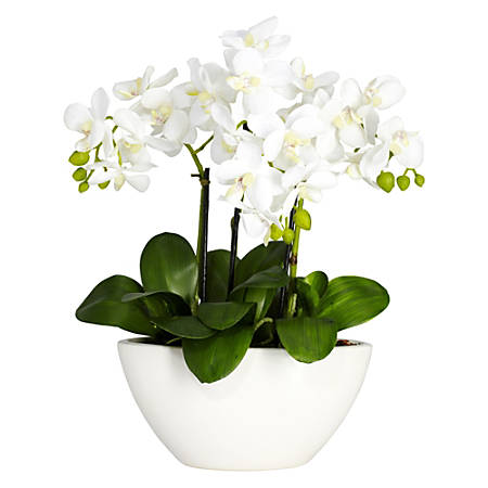"Nearly Natural 16""H Silk Triple Mini Phalaenopsis Flower Arrangement With Bowl Planter, White"