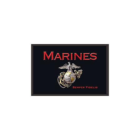 """California Color Products Marines Door Mat, 24"""" x 36"""", Emblem"""