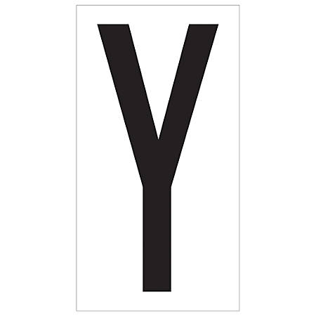 "Office Depot® Brand Vinyl Warehouse Labels, DL9310Y, Letter Y, 3 1/2"", Black/White, Case Of 50"