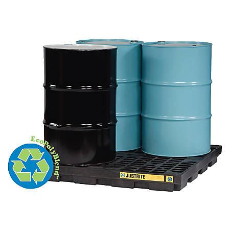 Justrite EcoPolyBlend™ Accumulation Center, 4-Drum, Black