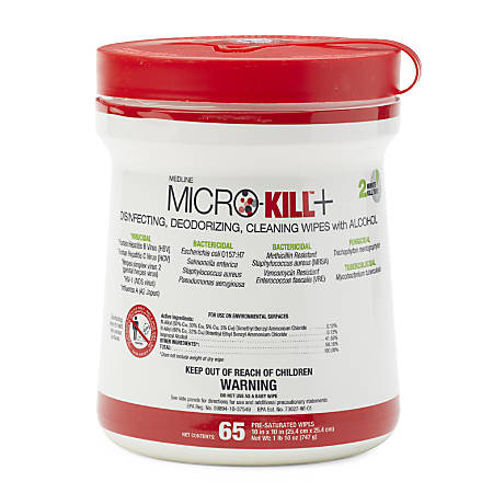 "Medline Micro-Kill+™ Disinfectant Wipes, 10"" x 10"", White, 65 Sheets Per Canister, Case Of 12"