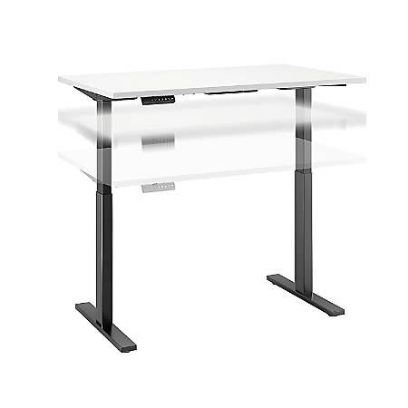 """Bush Business Furniture Move 60 Series 48""""W x 24""""D Height Adjustable Standing Desk, White/Black Base, Standard Delivery"""