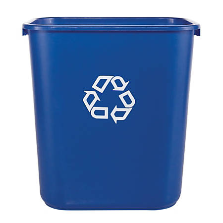 """Rubbermaid® Deskside """"We Recycle"""" Container, 7 Gallons, 14 1/4""""H x 15""""W x 10 1/4""""D, Blue"""