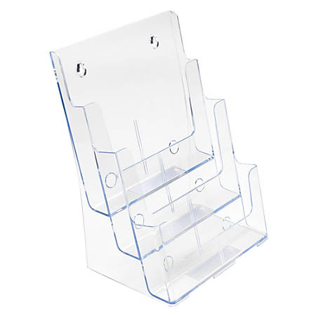 "Deflect-O® 3-Tier Magazine Literature Holder, 12 5/8""H x 9 1/2""W x 6 1/4""D, Clear"