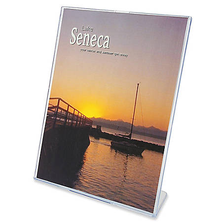 "Deflect-O® Superior Image Slanted Sign Holder, 8 1/2"" x 11"", Clear"