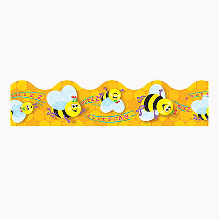 """TREND Terrific Trimmer® Borders, 2 1/4"""" x 39"""", Busy Bees, Pre-K - Grade 6, Pack Of 12"""