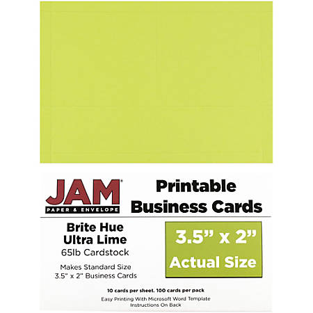 "JAM Paper® Printable Business Cards, 3 1/2"" x 2"", Lime Green, 10 Cards Per Sheet, Pack Of 10 Sheets"