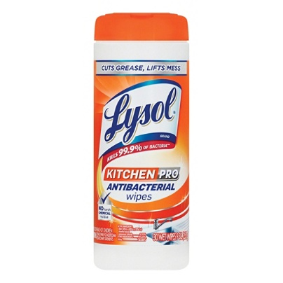 lysol kitchen pro antibacterial cleaning wipes pack of 30 by office