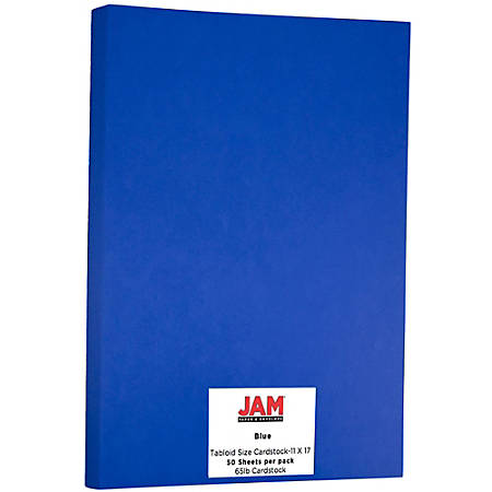 """JAM Paper® Cover Card Stock, 11"""" x 17"""", 65 Lb, 30% Recycled, Presidential Blue, Pack Of 50 Sheets"""