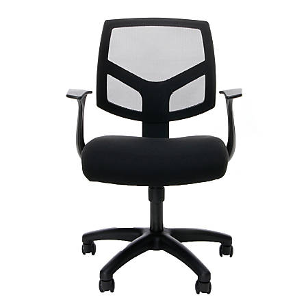 OFM Essentials Mesh Mid-Back Chair, Black/Black/Silver