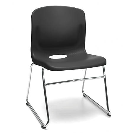OFM Multi-Use Stacker Chairs, Black/Chrome, Set Of 4